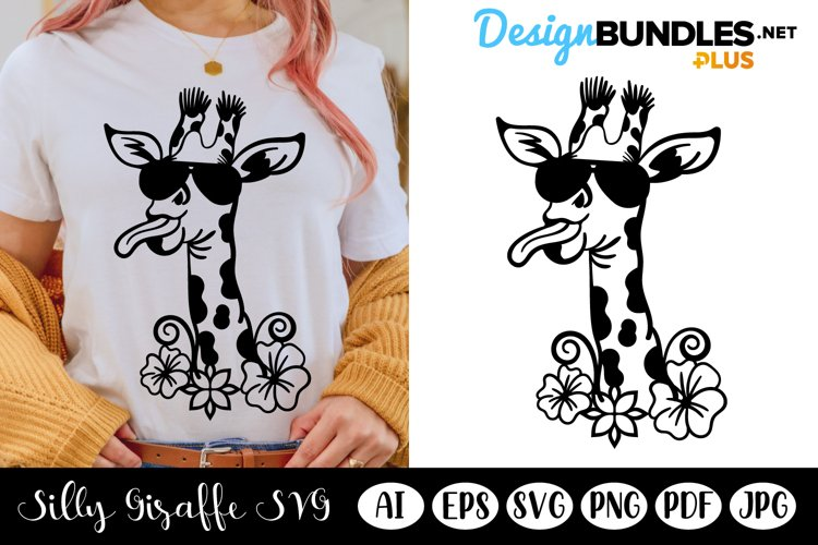 Silly Giraffe Wearing Sunglasses, Tongue Out Giraffe SVG