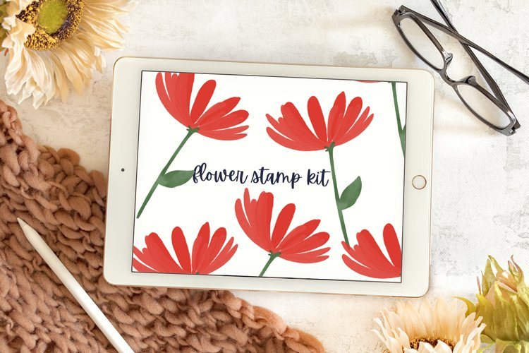 Flower Stamp Kit - Watercolor Procreate Stamps example