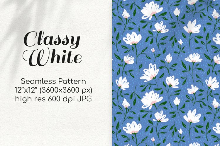 Bright Summer Daisy Flowers on Blue Seamless Digital Paper