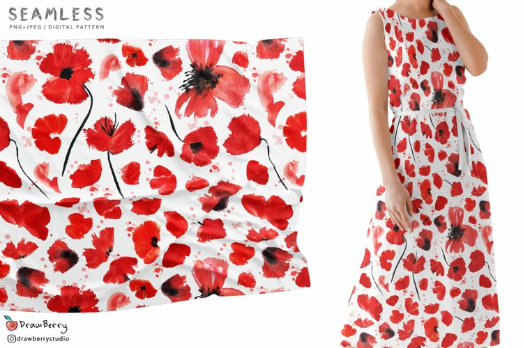 Poppies Seamless Pattern SP133 example image 1