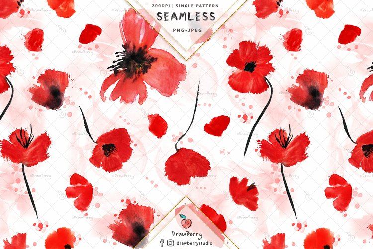 Red Poppy Seamless Pattern SP134 example image 1
