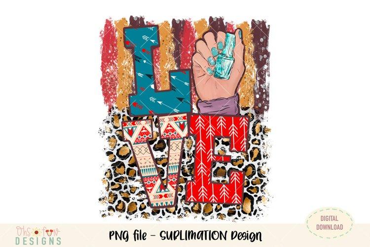 Love nail animal print sublimation png