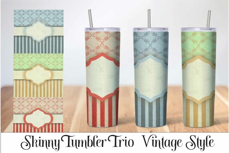 Skinny Tumbler Sublimation Vintage Stripe Design example image 1