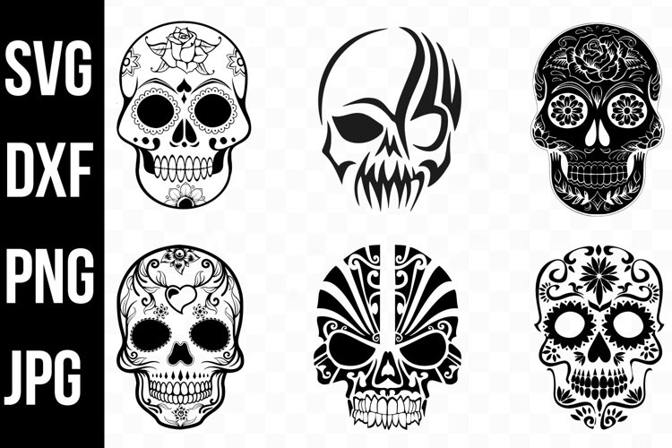 Halloween Skull Bundle, Tribal Skulls svg jpg dxf png