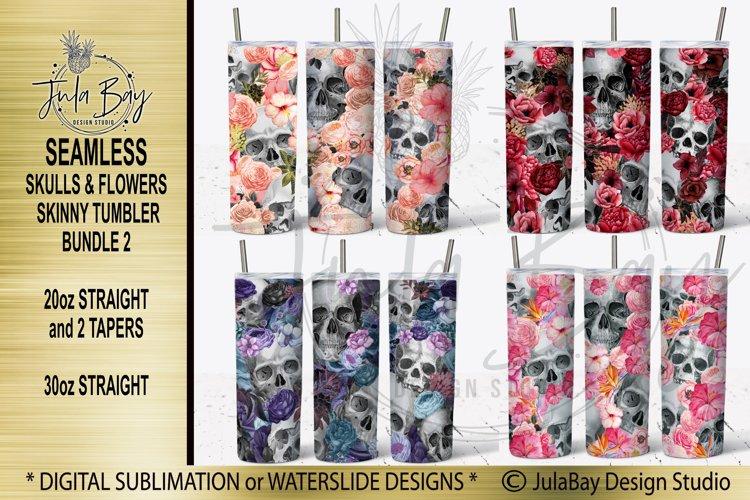 Skulls and Flowers Skinny Tumbler Sublimation Design Bundle