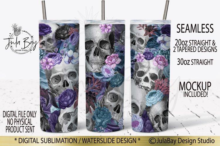 Skulls and Flowers Skinny Tumbler Wrap Sublimation Design