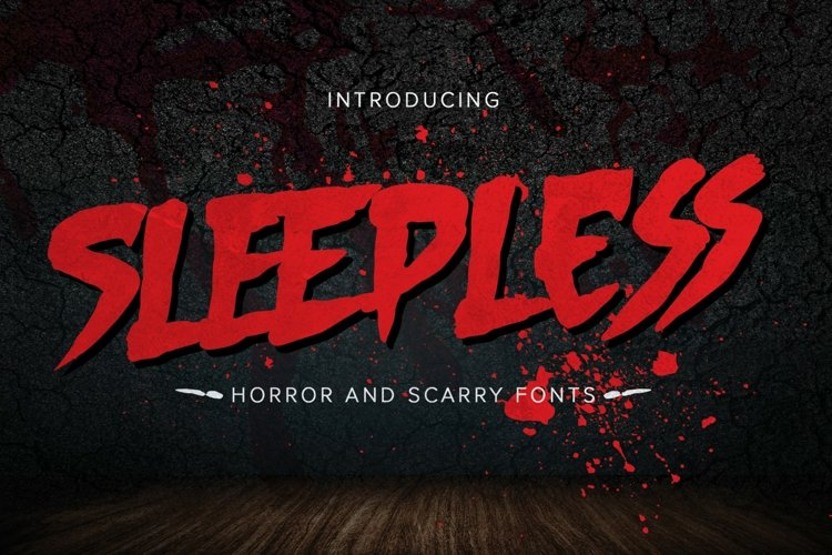 Sleepless - hand drawn Horror Brush font example image 1