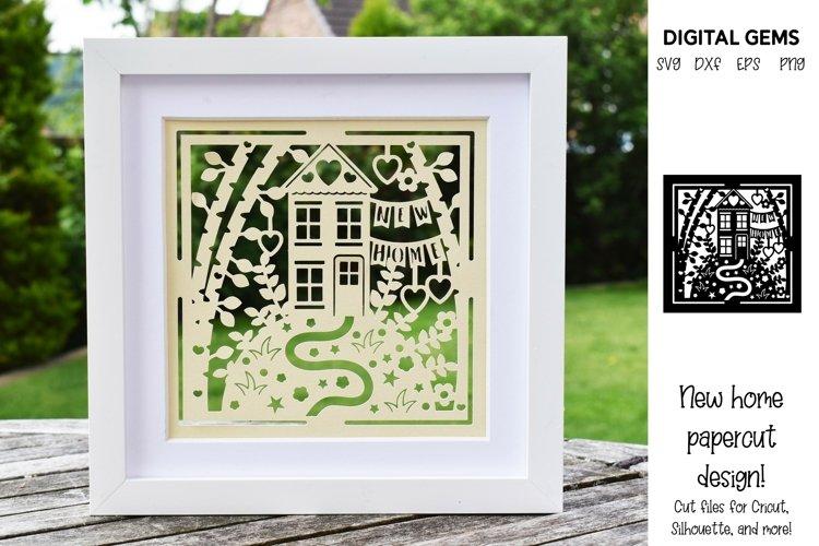 New home paper cut design. Housewarming SVG