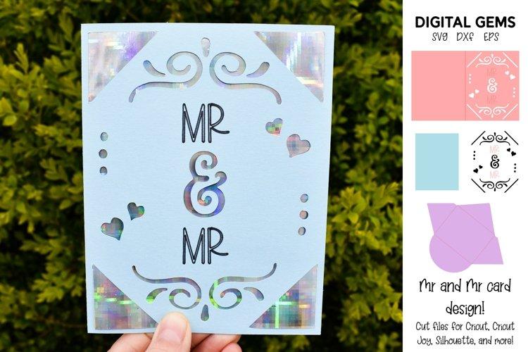 Cricut Joy Card! Mr and Mr wedding card design! SVG / DXF example image 1