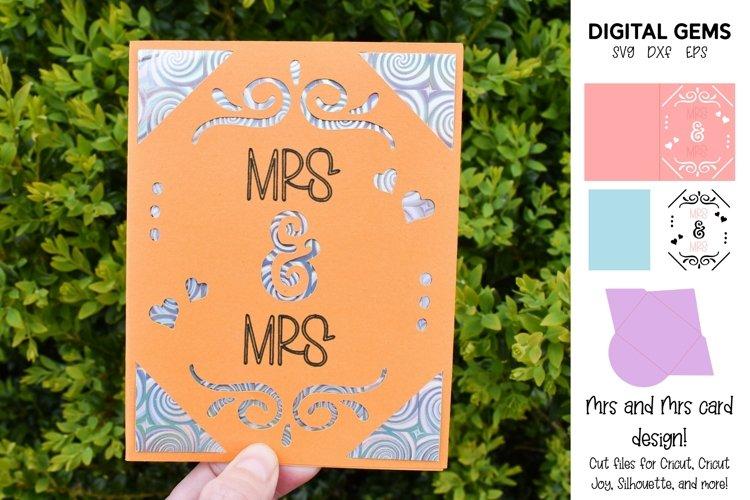 Cricut Joy Card! Mrs and Mrs wedding card design! SVG / DXF example image 1