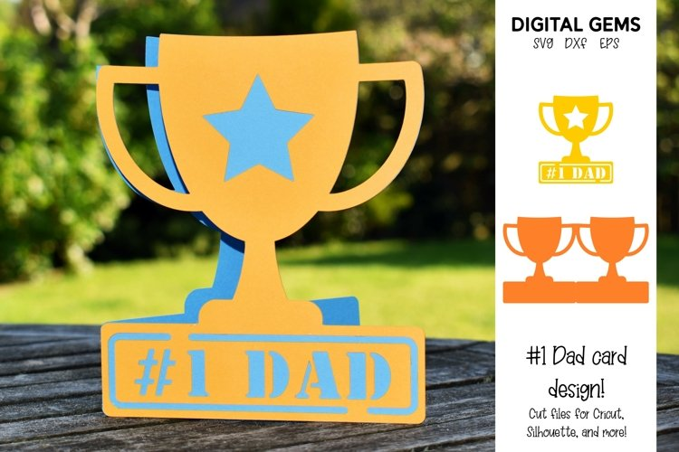 Trophy Fathers Day / Dad Birthday card. SVG / PNG / DXF