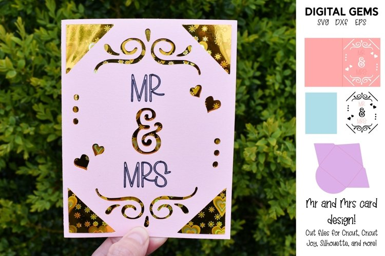 Cricut Joy Card! Mr and Mrs wedding card design! SVG / DXF example image 1