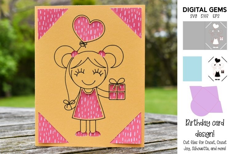 Girl birthday card! SVG file. example image 1