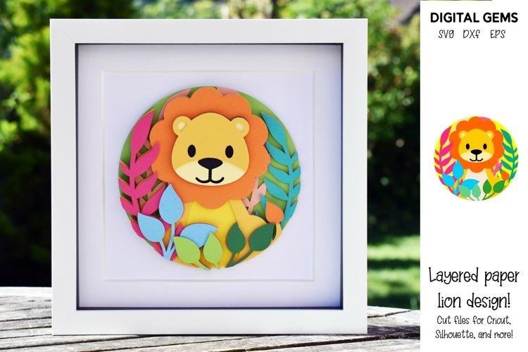 Lion. Layered paper design. SVG / PNG / DXF