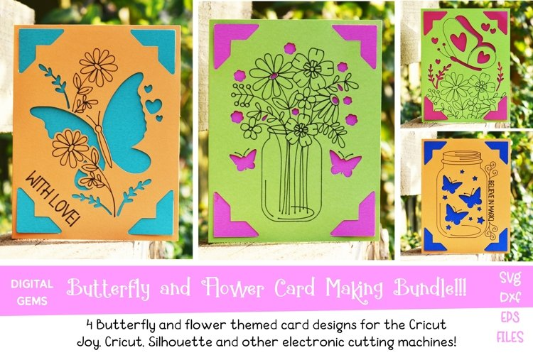 Butterfly and Flower Card Bundle! Works with the Cricut Joy!
