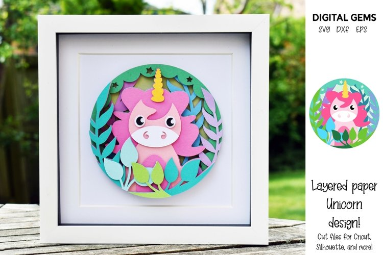 Unicorn. Layered paper design. SVG / PNG / DXF