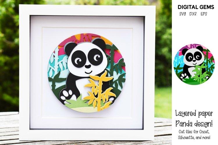 Panda. Layered paper design. SVG / PNG / DXF