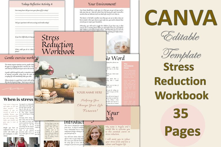 Canva Stress Reduction Workbook for Trainers, Life Coach,