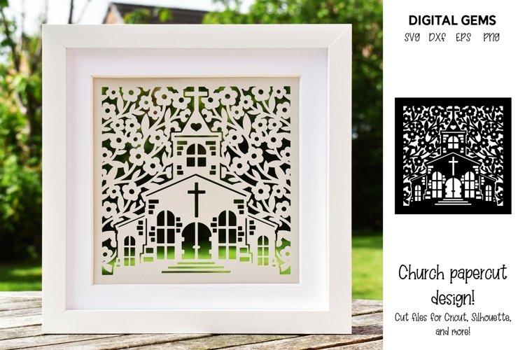 Church paper cut design. Wedding / Baptism / Anniversary SVG