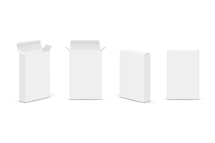 Set of Slim Paper Rectangular Boxes with Various Views