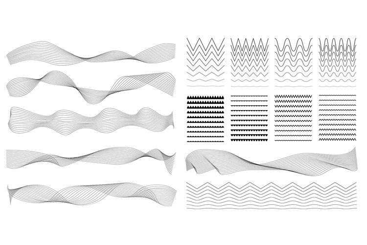 Set of Zigzag and Wave Borders, Sinuous Curves