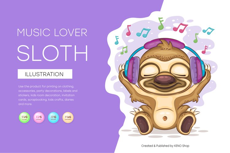 Sloth music lover, cute clipart