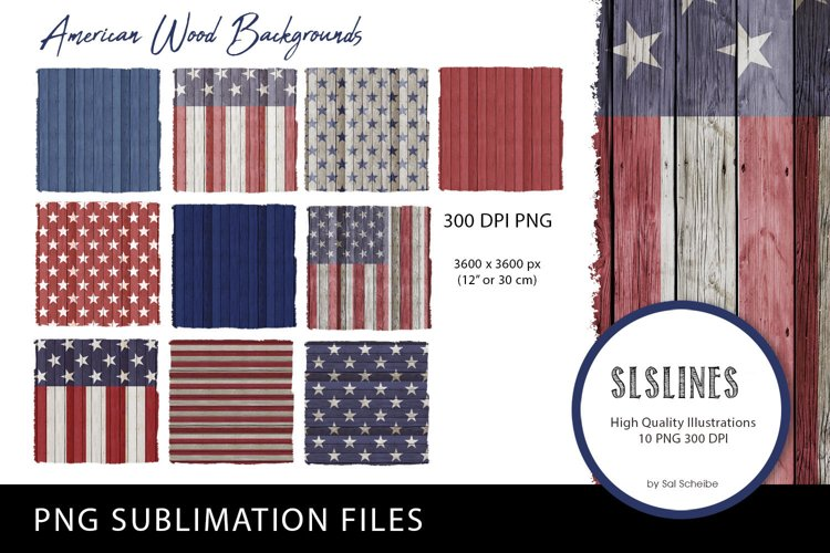 American Wood Patriotic Backgrounds PNG sublimation