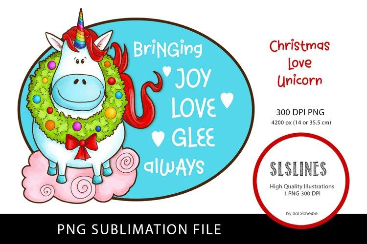 Happy Christmas Unicorn PNG sublimation example image 1