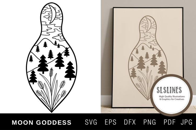 Moon Goddess Illustration with flowers SVG EPS PNG example image 1