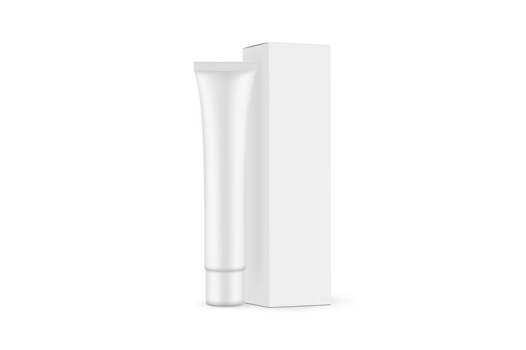 Plastic Cosmetic Tube with Paper Box Mockup