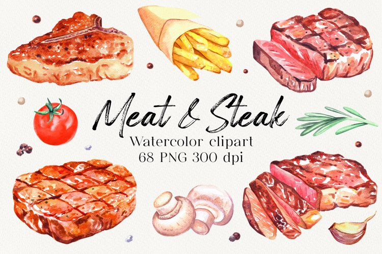 Smoke meat. Watercolor food clipart PNG. Steaks on grill BBQ