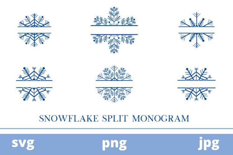 snow flake split monogram   split monogram   monogram