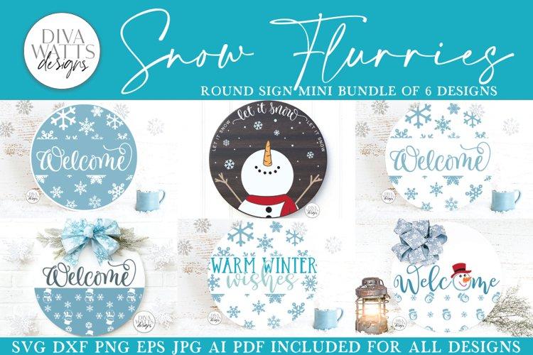 Snow Flurries Round SVG Bundle - Winter Sign Making Bundle example image 1
