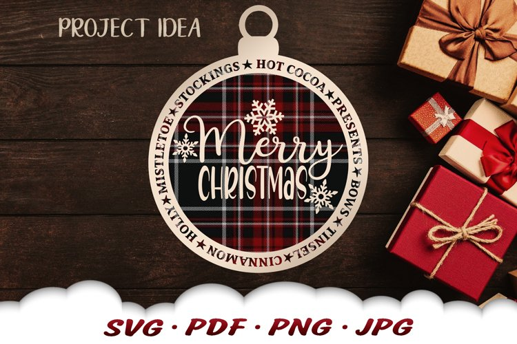 Merry Christmas Ornament SVG Files For Cricut example image 1