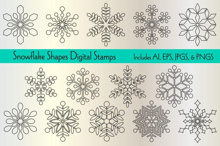 Snowflake Shapes Digital Stamps