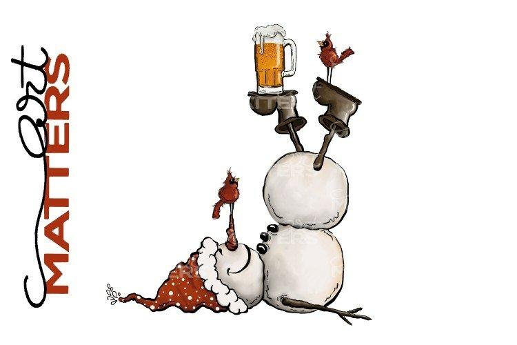 Snowman Beer Red Birds - 300 DPI