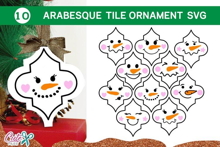 Snowman Christmas Arabesque tile SVG Bundle 2 example image 1