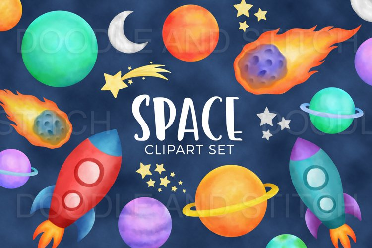 Watercolor Space Clipart Illustrations example image 1