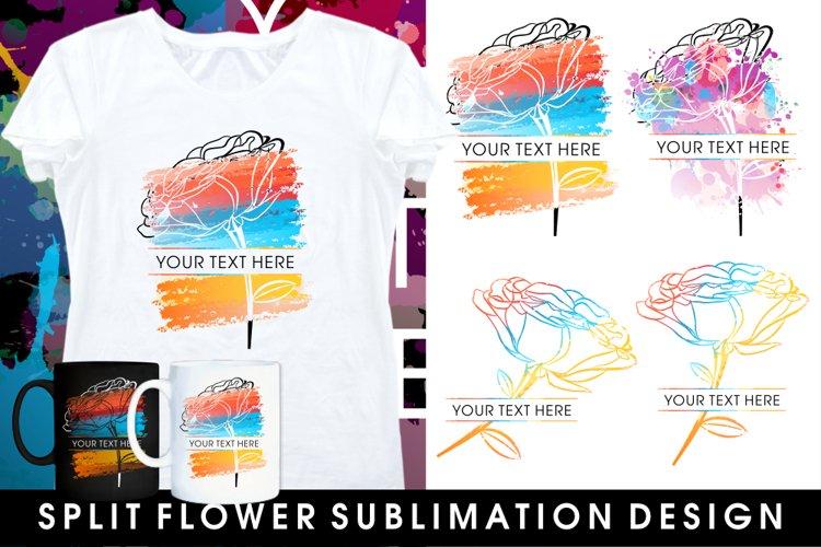 mug sublimation split monogram flowers bundle example image 1