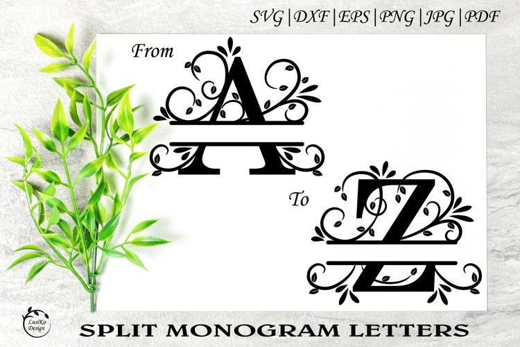 Split monogram letters A - Z. Alphabet letters A-Z. SVG, PNG
