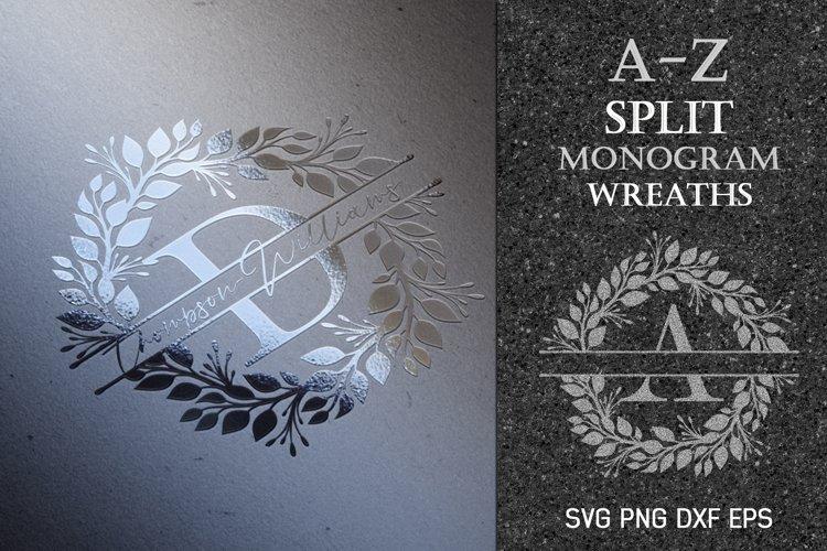 Monogram SVG Split Letters  Black Wreath Monogram Frame PNG