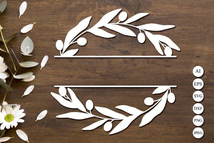 Olives branch split monogram svg, Floral wreath svg, Frame