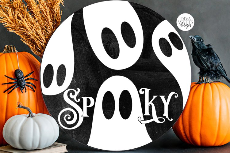 Spooky SVG | Halloween Ghosts Round Design example image 1