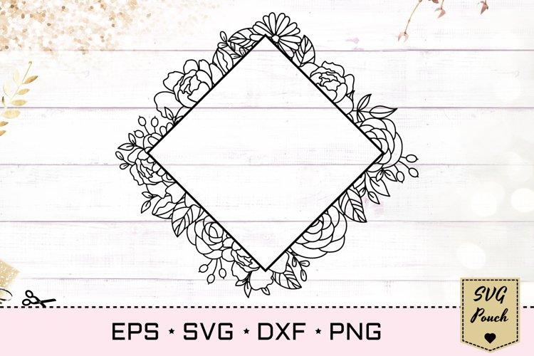 Floral full square frame SVG