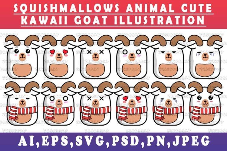 cute kawaii goat animal Squishmallows style goat vector