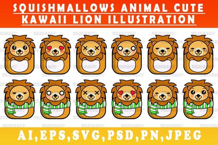 cute kawaii lion animal Squishmallows style lion vector art