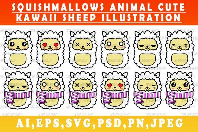 cute kawaii sheep animal Squishmallows sheep vector art