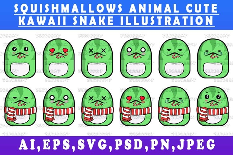 cute kawaii snake animal Squishmallows style snake vector ar