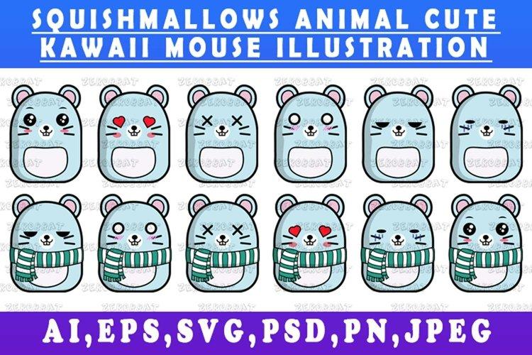 cute kawaii mouse animal Squishmallows mouse vector art