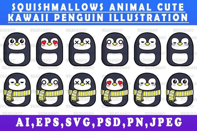 cute kawaii penguin animal Squishmallows style vector